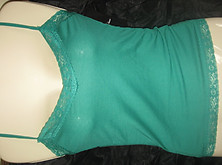 Lace Trim Adjustable Camisole Forrest Green