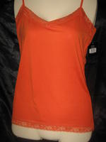 Lace Trim Adjustable Camisole Orange